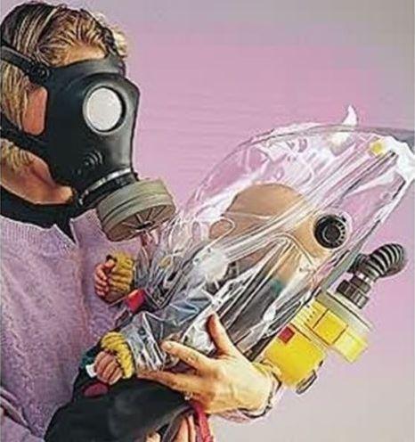 NBC緊急避難用 児童用 防毒ガスマスク サリン対応  フェルター1個付き 核放射性粉じん/ウイルス/細菌/催涙ガス 緊急避難 用  0歳から2歳まで使用可能