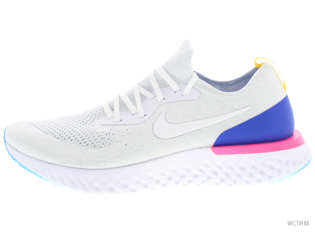 NIKE EPIC REACT FLYKNIT aq0067-101 white/white-racer blue ナイキ エピック リアクト フライニット 未使用品【中古】