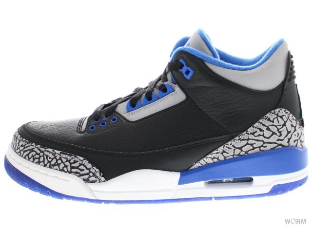 9b1b0d6497e9 ... shop air jordan 3 retro 136064 007 black sport blue wolf grey air  jordan 3 unread