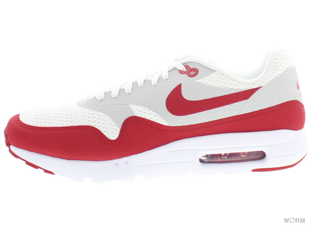 【US10】NIKE AIR MAX 1 ULTRA ESSENTIAL 819476-106 white/vrsty red-ntrl gry-white エア マックス 未使用品【中古】