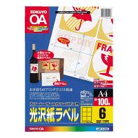 コクヨ「カラーレーザー&コピー用 光沢紙ラベル」(A4・6面表示ラベル用・100枚)(LBP-G1906)
