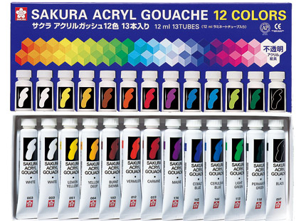 "Sakura color products Corporation ""Acryl gouache ( 12 colors and 13 pieces )"" ( AGW13 )"
