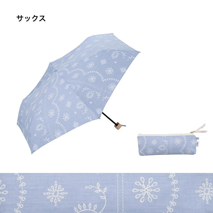 【Wpc.公式】折りたたみ傘T/C遮光レースプリントmini【日傘傘UVカット遮光晴雨兼用レディース】