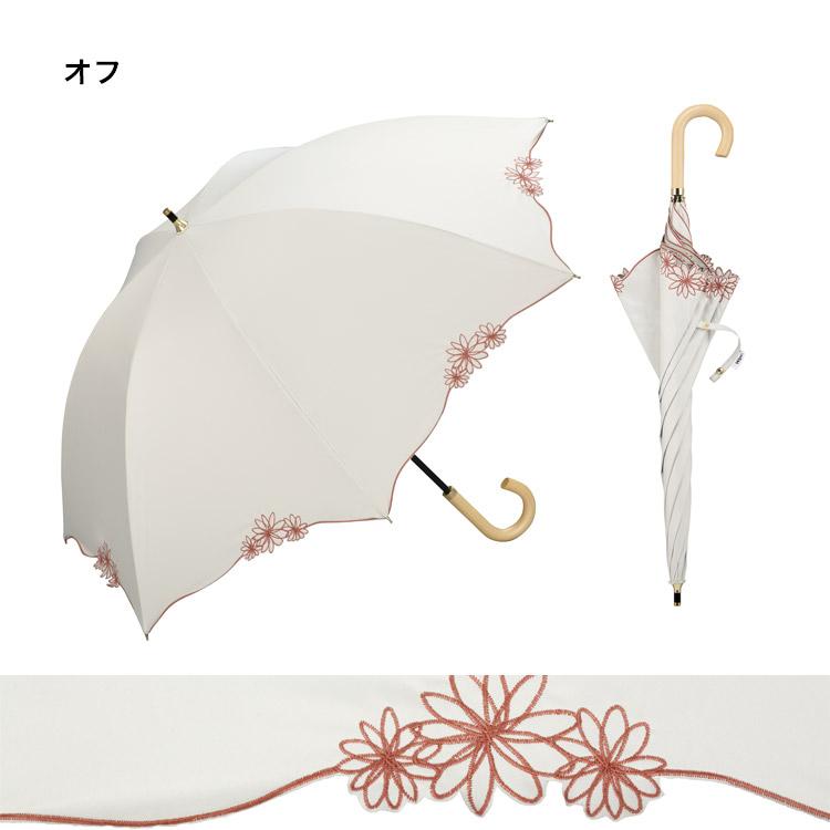 【Wpc.公式】長傘遮光バードケージリムフラワー【日傘傘UVカット遮光晴雨兼用レディース】