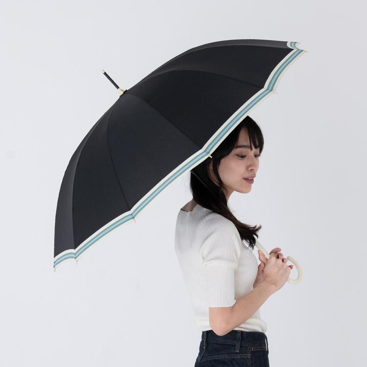 【Wpc.公式】長傘12本骨ボールドライン【雨傘傘はっ水撥水晴雨兼用レディース】