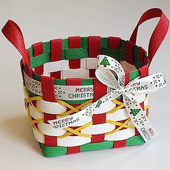 紙バンドで作るクリスマス 紙バンド手芸トライアルキット 安心の定価販売 公式 クリスマス☆リボンバスケット☆