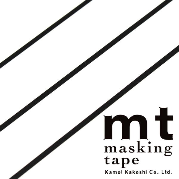 マスキングテープ マステ mt カモ井加工紙 mt slim 3mm マットブラック 3巻入りパック(3mm×10m)MTSLIMS11
