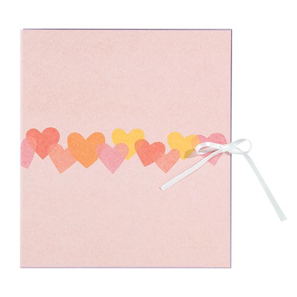 結婚式や卒業式にピッタリ 連なるハートがかわいい 二つ折りタイプの色紙 midori ミドリ 無料 33113006 カラー色紙 現金特価 二つ折り リボン ハート