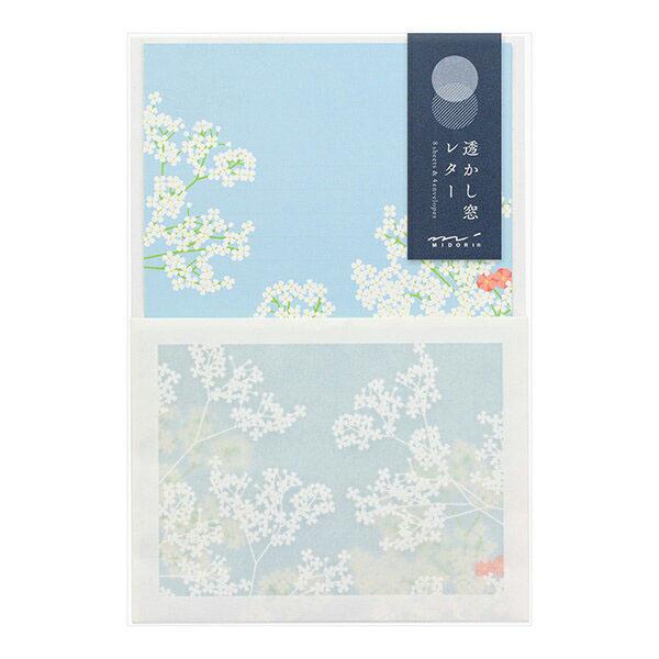 封筒に便箋を入れると絵柄が透けるレターセットです レターセット midori ミドリ 花柄 86447006 予約 透かし窓 バーゲンセール