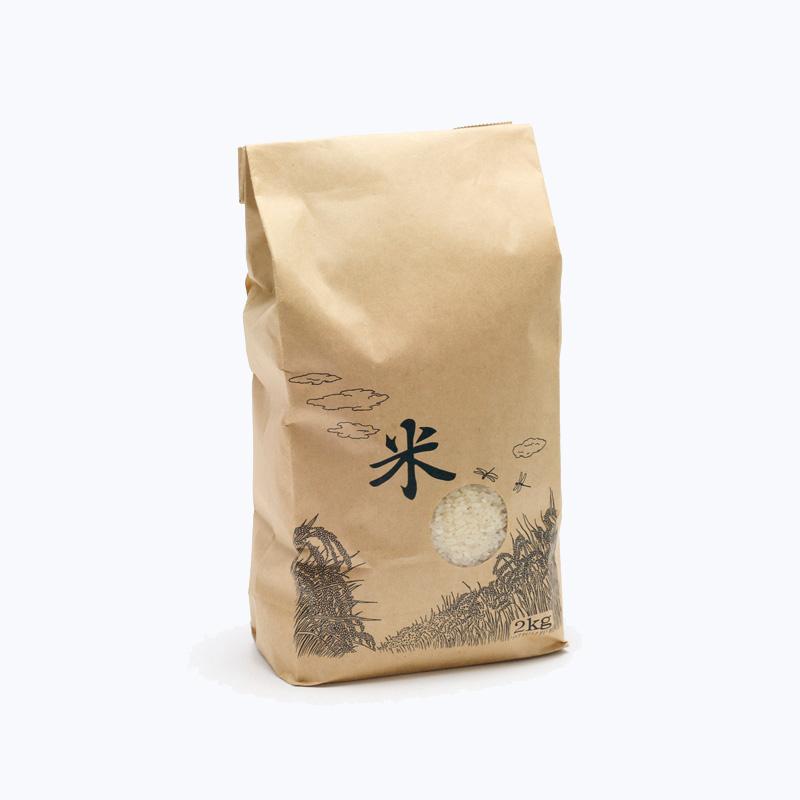 紙袋 米袋 2Kg 米テープ 窓付 200枚