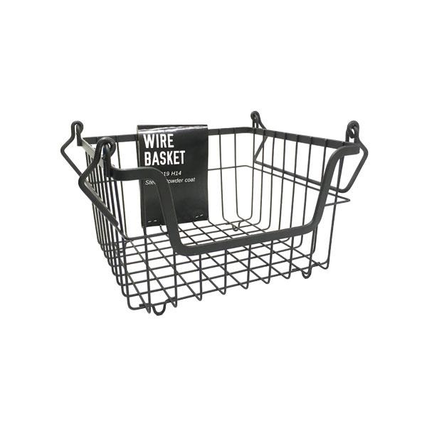安全 見せる収納に スタッキングしても使えるシンプルなワイヤーバスケット かご ボックス カゴ living 収納Posh 63385 ポッシュリビングスタッキングバスケット Sブラック 超人気