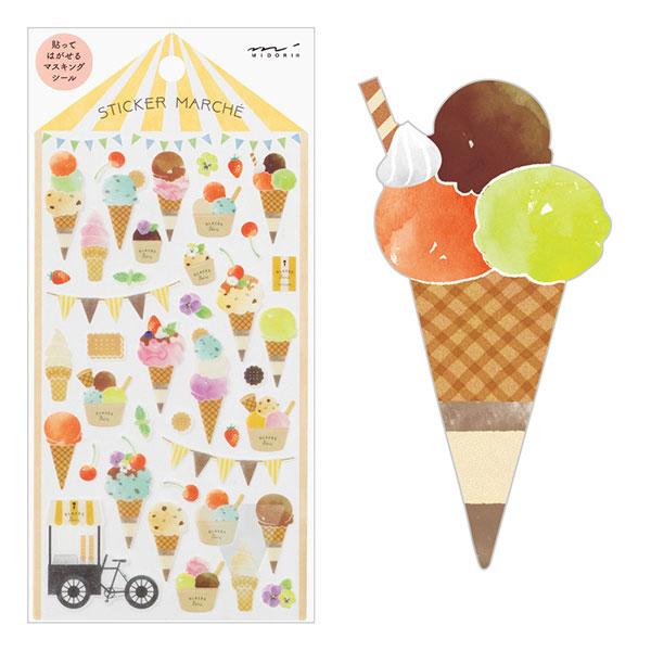 ラッピングカラフルでおいしそうなアイスが可愛い貼ってはがせるマステ素材シール! シール マスキングテープ midori ミドリシールマルシェ アイス柄82369006
