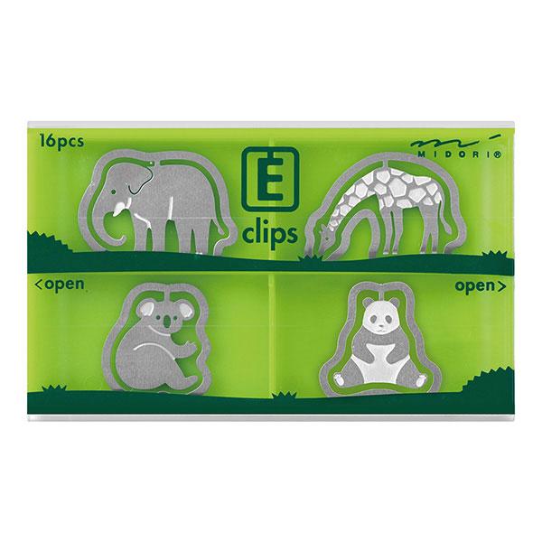 ラッピングネコポス対応コピー用紙を約10枚までしっかりと留められるステンレス製クリップ クリップ midori ミドリエッチングクリップス動物園柄 4336000616個入(4型×4個)