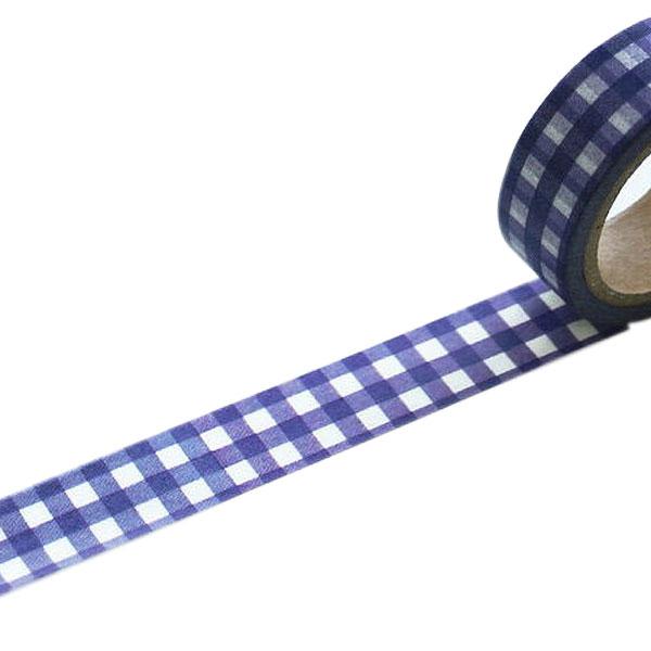 マスキングテープ マステ ワールドクラフト ギンガムチェック ネイビー W02-MK-T0016(15mm×7m)