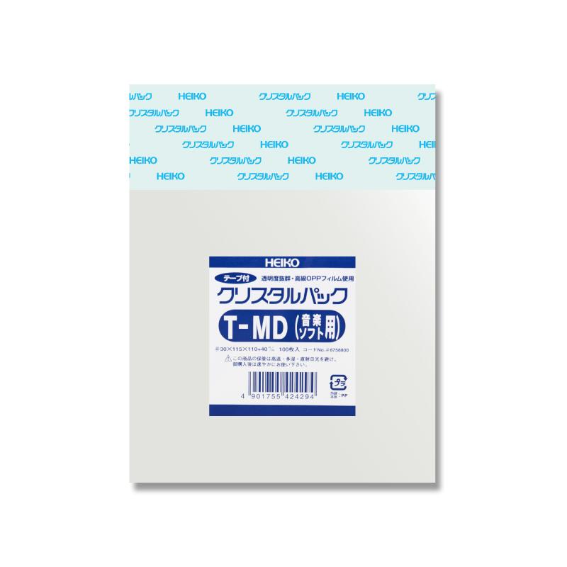 OPP袋 透明袋 テープ付 HEIKO ラッピング クリアパック シモジマ 限定価格セール スーパーSALE10%OFF 梱包袋 テープ付き クリスタルパック ハンドメイド 音楽ソフト用 T-MD 100枚 激安通販ショッピング