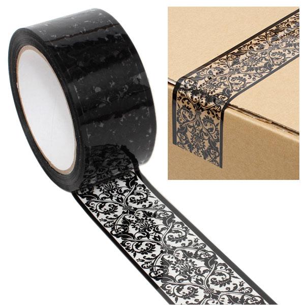 オリジナルのエレガントな柄OPPテープ 強力な粘着力でしっかり梱包できます 柄入りOPPテープ HEIKO シモジマ ダマスク パッキングテープ 50mmx50m 上品 ストアー