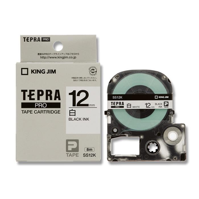 KING JIM キングジム テプラテープ SS12K 白 黒字 12mm幅