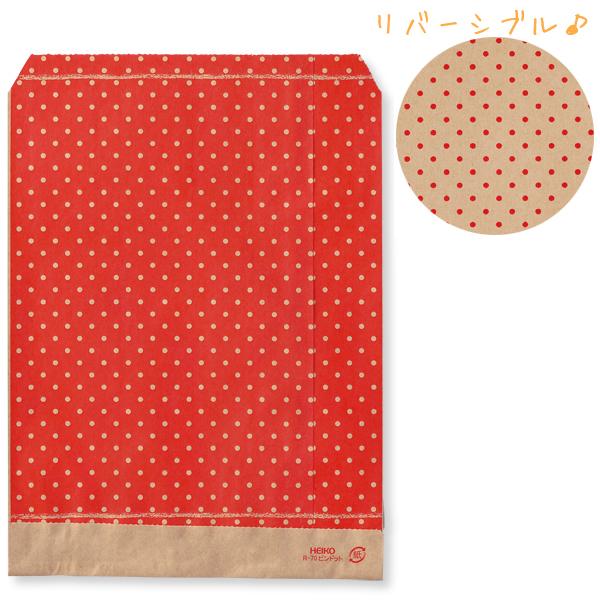 ラッピング表面と裏面で色が違うクラフト袋♪W140×H180mm紙袋 200枚 紙袋 HEIKO シモジマ 柄小袋(平袋) R-70 ピンドット R(200枚入り)
