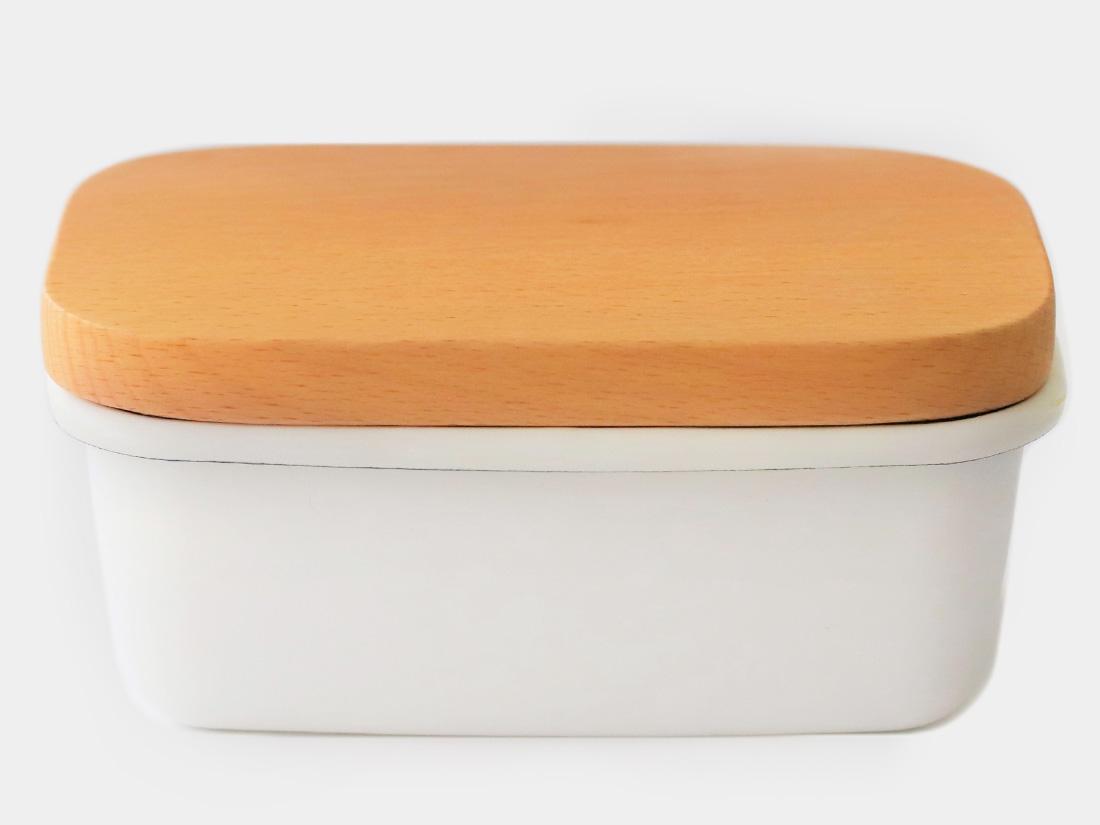 オリジナル琺瑯 珍しいけど可愛い2カラーです 琺瑯 バターケース木蓋 キャニスター 開店記念セール ホワイトホーロー お気にいる 保存容器