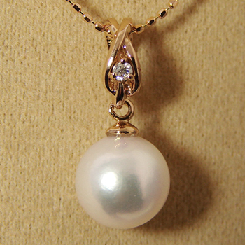 【受注発注品】あこや真珠 クロスデザイン(ダイヤ付) パールペンダントトップ(ヘッド) ホワイト系 8.0-8.5mm BBB K18PG ピンクゴールド 0.02ct [n5][52-7188](真珠 ペンダント)(フォーマル プレゼント)