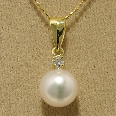 「あこや本真珠 パールペンダントトップ(ヘッド) ホワイト系 7.5-8.0mm BBB K18」[n4]