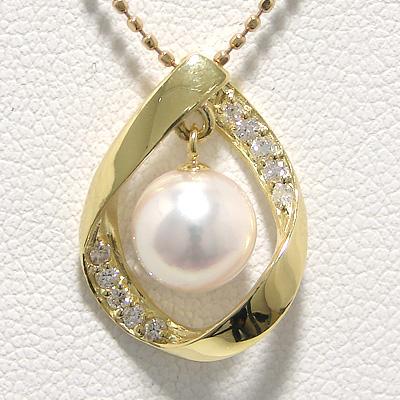 「あこや本真珠 パールペンダントトップ(ヘッド) ホワイト系 7.0-7.5mm BBB K18」[n6]