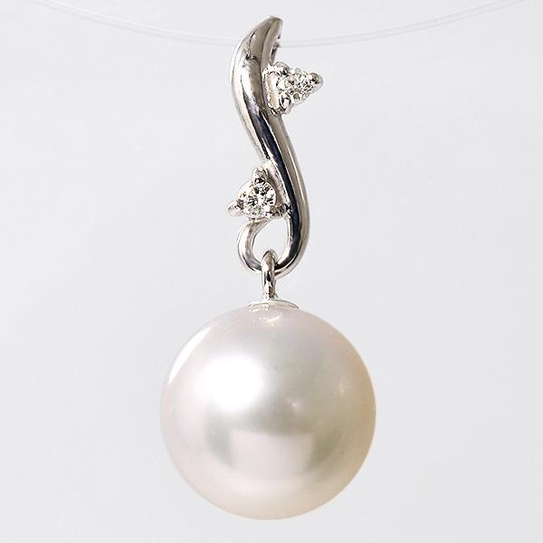 【受注発注品】あこや真珠 ネイチャーデザイン パールペンダントトップ(ヘッド) ホワイト系 7.5-8.0mm BBB K18WG ホワイトゴールド 0.02ct [n6](真珠 ペンダント)(フォーマル プレゼント)