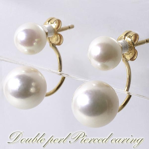 あこや真珠 ダブルパールピアス ~Fluffy(フラッフィ)~ ホワイト系 5.5-6.0/7.5-8.0mm K18 (真珠 ピアス)(パール ピアス)[n4]6月誕生石
