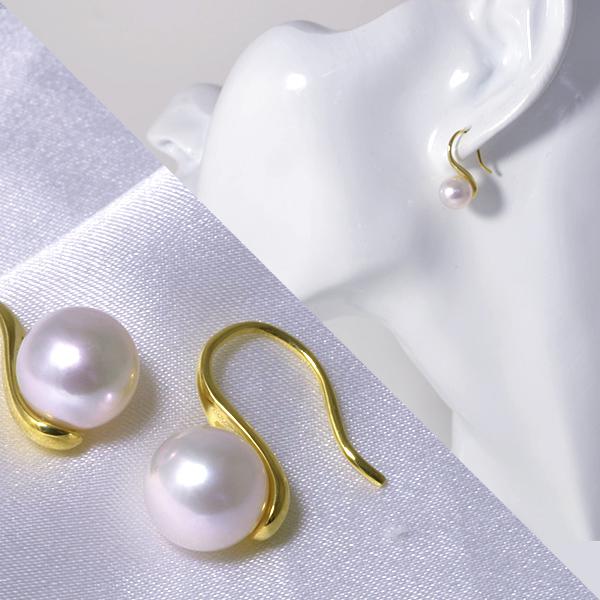 あこや真珠 地金たっぷり フックパールピアス ホワイト系 8.5-9.0mm BBB K18 ゴールド18金 【受注発注品】[n5]