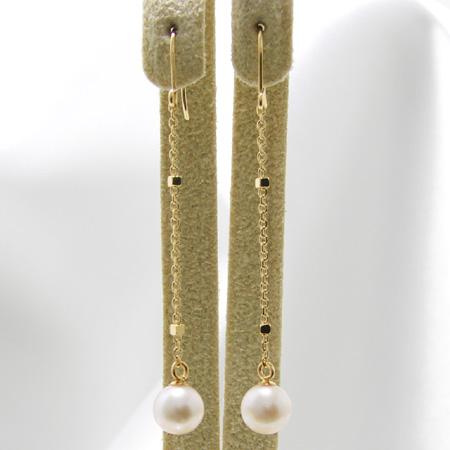 「あこや本真珠 チェーンパールピアス ホワイト系 5.5-6.0mm BBB K18」[n5][BB]