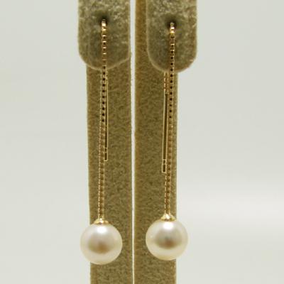 「あこや真珠 チェーンパールピアス ホワイト系 5.5-6.0mm BBB K18」[n4]