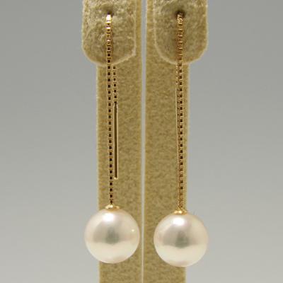 あこや真珠 チェーンパールピアス ホワイト系 7.0-7.5mm AAB K18 ゴールド ベネチアン 5cm [n4](本真珠 ロングピアス おしゃれ)