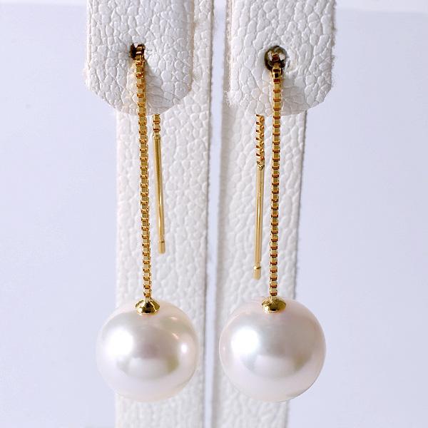 あこや真珠 チェーンパールピアス ホワイト系 8.0-8.5mm BBB K18 ゴールド ベネチアン 5cm [n4](本真珠 ロングピアス おしゃれ)