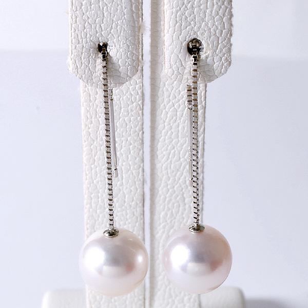あこや真珠 チェーンパールピアス ホワイト系 8.0-8.5mm BBB K14WG ホワイトゴールド ベネチアン 5cm [n4](本真珠 ロングピアス おしゃれ)
