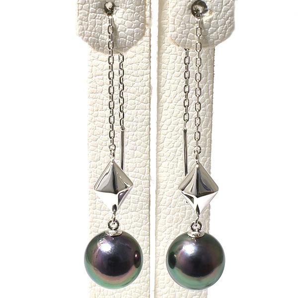 「あこや真珠 チェーンパールピアス グリーン系 7.0-7.5mm A~BBB K14WG」 ホワイトゴールド(アコヤ本真珠・黒真珠)[n5]
