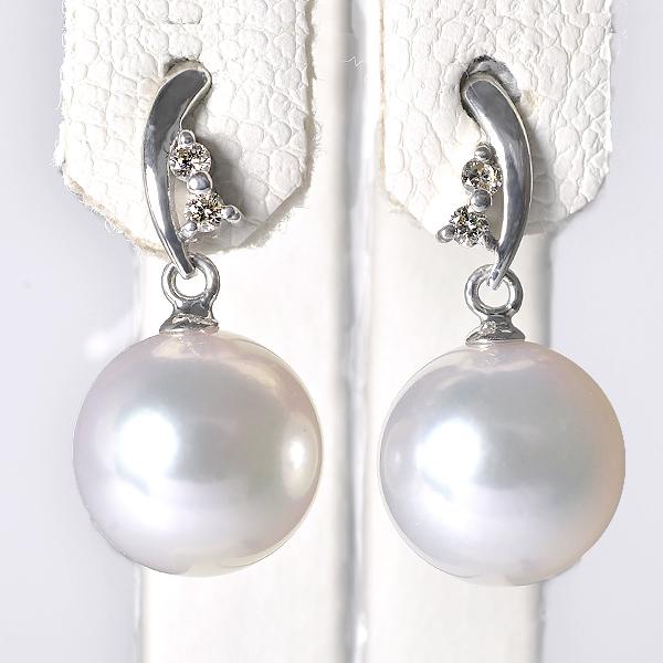 【受注発注品】あこや真珠 ダイヤ付き スタッドぶら パールピアス ホワイト系 8.0-8.5mm BBB K18WG ホワイトゴールド [n6](真珠 ピアス おしゃれ)