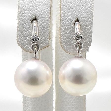 あこや真珠 ダイヤ付き フックパールピアス ホワイト系 8.0-8.5mm BBB K14WG ホワイトゴールド [n3](本真珠 ピアス おしゃれ)