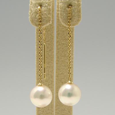 あこや真珠 チェーンパールピアス ホワイト系 7.0-7.5mm AAB K18 ゴールド あずきチェーン 5cm [n4](本真珠 ロングピアス おしゃれ)