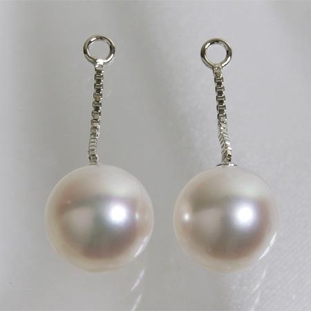 あこや真珠 パールピアスチャーム 1cm ホワイト系 7.5-8.0mm BBB K14WG ホワイトゴールド(カンの内径:約1.3mm)[n4][53-5053](真珠 ピアス)