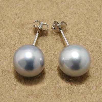 あこや黒真珠 パールピアス グレー系 8.0-8.5mm BBB K14WG ホワイトゴールド[n3][53-5050](真珠 ピアス スタッド)(冠婚葬祭 フォーマル)