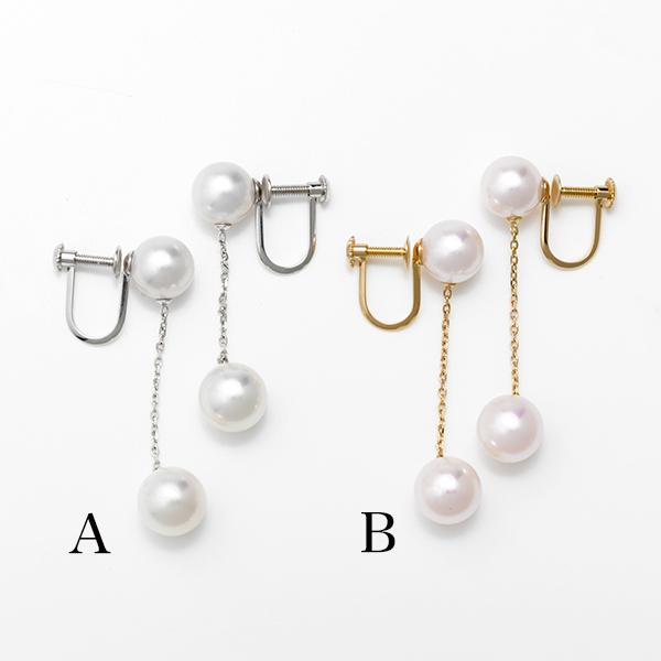 あこや真珠 パールイヤリング 7.0-7.5/7.5-8.0mm ABB ホワイトピンク系 K14WG / K18YG [n4] (アコヤ本真珠 真珠 イヤリング)