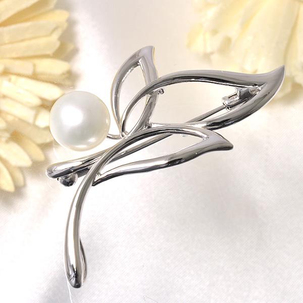 さりげなく気品が漂うパールブローチ 淡水真珠 1粒 パールブローチ ホワイト系 9.0-9.5mm BB シルバー(silver) [n4](真珠 ブローチ)(フォーマル 入学式 卒業式 成人式)
