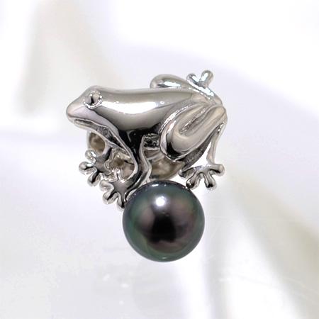 「あこや真珠 パールブローチ(ラペルピン) グリーン系 7.0-7.5mm A~BA~BA~B SV」[メンズ][n5](冠婚葬祭 フォーマル 入学式 卒業式 成人式)