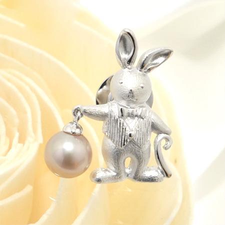 「淡水パール ウサギモチーフパールピンブローチ ピンク系 8.0mmUP AA silver」[n5](冠婚葬祭 フォーマル 入学式 卒業式 成人式)