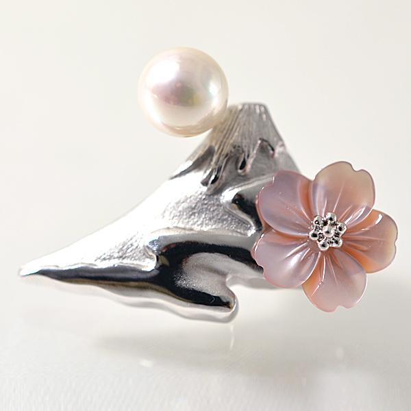 あこや真珠 ~パール富士 雲海と桜~ ピンクシェル パールブローチ ホワイト系 7.0-7.5mm BBB シルバー(silver) 【受注発注品】[n5](プレゼント ギフトにおすすめ)(冠婚葬祭 フォーマル)