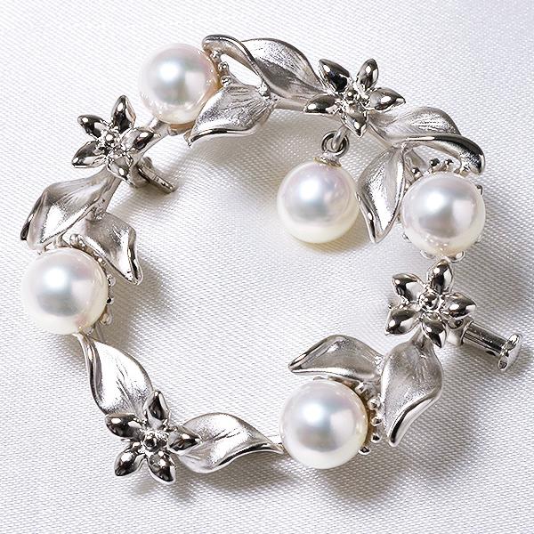 あこや真珠 パールブローチ ネイチャーモチーフ(リーフ) ホワイト系 6.5-7.0mm BBB~C シルバー(silver) 【受注発注品】[n5](フォーマル スーツ ワンピース)(プレゼント 御祝い)