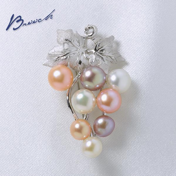 淡水真珠 パールブローチ 葡萄モチーフ ピンク/オレンジ/ホワイト(ナチュラル)系 5.0-7.0mm AA シルバー(silver) [n2]
