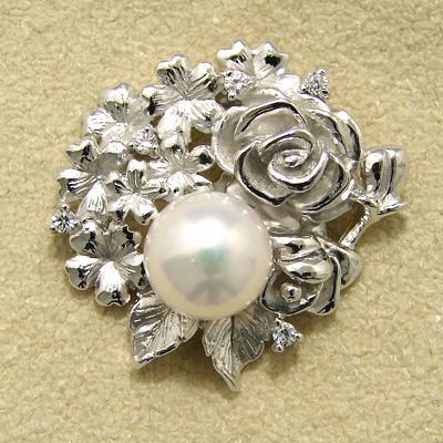 「あこや本真珠 パールブローチ ホワイト系 7.0-7.5mm BBB silver」[n5](冠婚葬祭 フォーマル 入学式 卒業式 成人式)