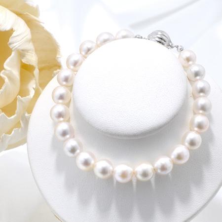 [長さが選べる] あこや真珠 パールブレスレット ホワイト系 7.5-8.0mm BBB~C ラウンド~セミラウンド マグネット式クラスプ シルバー(silver)[n3][人気 ロングセラー](本真珠 ブレスレット 真珠 パール)