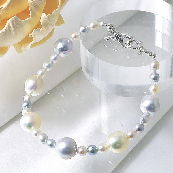 「あこや真珠 パールブレスレット ナチュラルマルチ系 4.0-9.5mm BAC クリップクラスプ(silver)」 シルバー(アコヤ本真珠)[n3]